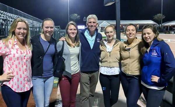 © : Young Rider Graduate Program Participants watched Grand Prix Freestyles at the Adequan Global Dressage Festival with USDF President George Williams. Photo courtesy of Catherine Chamberlain.